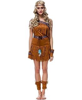Manfis Indianerin Kostum Damen Indianer Kostum Halloween Fasching