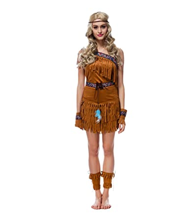 Authentische Western Kollektion Indianerin Kostum Beige Medium