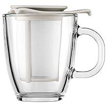 Bodum Yo-Yo Set Mug and Tea Strainer, 12-Ounce, Off-White