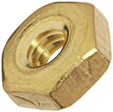 Brass Machine Screw Hex Nut, Plain Finish, ASME B18.6.3, #5-44 Thread Size, 7/64'' Width Across Flats, 5/16'' Thick (Pack of 100)