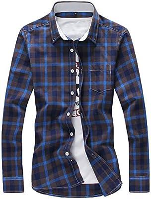 ERCQA Camisa Camisas a Cuadros Hombres Camisa a Cuadros Botón Abajo Manga Larga Camisas Casuales Más tamaño Envío de la Gota, XL, Azul: Amazon.es: Deportes y aire libre