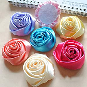 XGM GOU 10Pcs/Lot Handmade Dia 5.5Cm Fabric Satin Rose Flowers Artificial Flower DIY for Bridal Bridesmaid Wedding Bouquet Accessoires 2