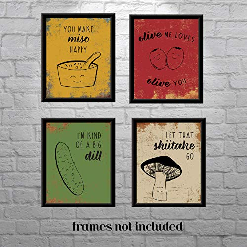 Kitchen Vintage Funny Food Wall Art Prints (Set Of 4) -Unframed Christmas Funny Gifts