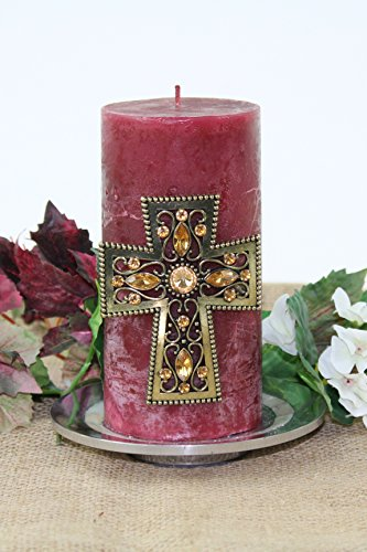 E GIFT ART Decorative Candle PIN Crystal Cross (Amber)
