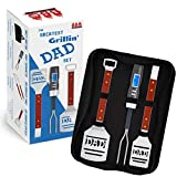Dad BBQ Grill Set with Carry Case - 4-Piece Includes Spatula, Tongs, Digital Thermometer and Case - Great Gift for Father's Day, Dad's Birthday or Anytime for Dad