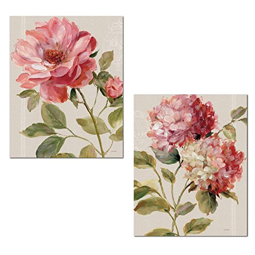 Gango Home Décor Beautiful Blooming Rose and Hydrangea Flower Print Set by Lisa Audit; Floral Decor; Two 11x14in Poster - Tan Print Floral