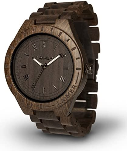 LAiMER Men s Wooden Watch Black Edition – Wrist Watch Made of Natural Sandalwood – Nature Lifestyle for Mens