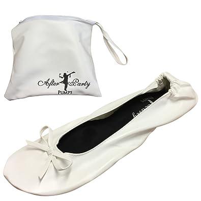 55c9267d4c89c After Party Pumps White Size UK 3-4 Ladies Roll up Shoes Fold up Pumps