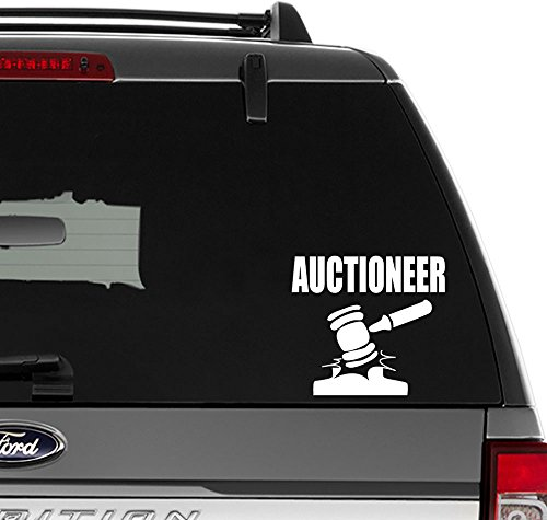 Auctioneer Auction Vinyl Decal Sticker For Wall Decor, Windows, Laptop, Car, Truck, Motorcycle, Vehicles (Size-6 inch/15 cm Wide) - (Gloss WHITE Color) (Auction Computer Laptop)