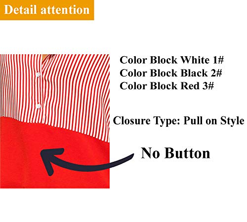 Silindashop Ladies Blouses Long Sleeve V Neckline Striped Patchwork Tops Button Down Knitted Sweet Stitch T-Shirts Trendy Black XXL