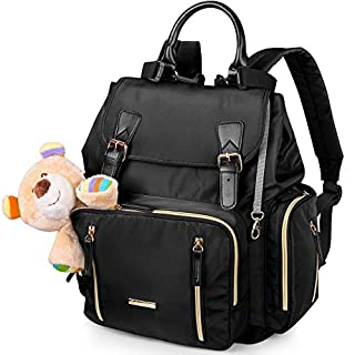 Baby Backpack Diaper Bag with Stroller Straps – Features 16 Pockets Including a Large Main Compartment to Organize Baby Essentials for Travel – Suitable for Boy and Girls – Black