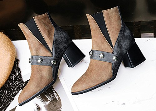 Brun Bottes Multicolore Aisun Low Moyen Boots Chelsea Femme Mode Talon Pointues Bloc awcqRPgUwz
