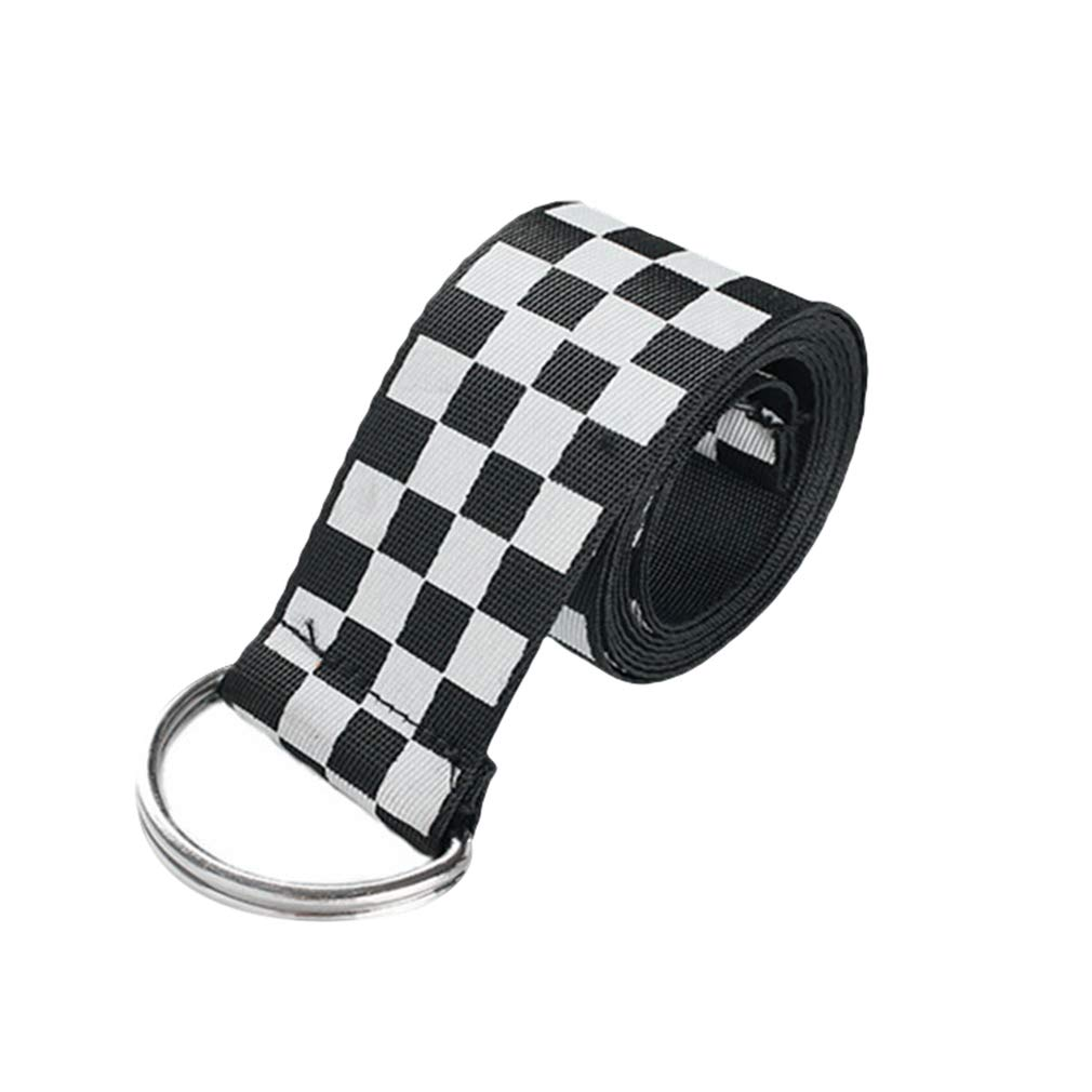 Mxssi Cintura Donna Vintage Scacchiera Cintura Doppio Anello a D Cintura in Tela Regolabile per Jeans Vestito Taglia Unica 135cm*3.7cm