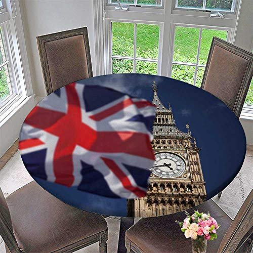 PINAFORE HOME The Round Table Cloth British Union Jack Flag and Ben Clock Tower at City of Westminster for Birthday Party, Graduation Party 59
