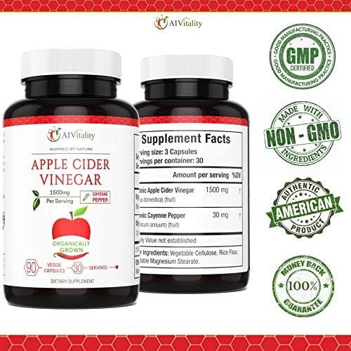 Organic Apple Cider Vinegar with Cayenne Pepper – Natural Detox Cleanse, Weight Loss, Digestion, Appetite Suppressant, Prevent Bloating, Immune Health, Premium Keto Friendly Supplement 1500mg Capsules 4