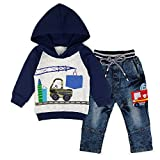 Minilove Boys Fire Truck Embroidery Denim Jeans Hoodie Outfit Clothes Set (5T,Navy)