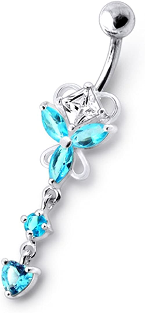 AtoZ Piercing Fancy Star Dangling 925 Sterling Silver with Stainless Steel Belly Button Rings