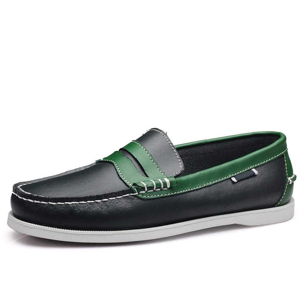 Qiusa Kuh Lederschuhe für Männer Atmungsaktive Weiche Sohle Rutschfeste Mode Grün+schwarz, Bequeme Halbschuhe (Farbe : Grün+schwarz, Mode Größe : EU 40) Grün c8d595