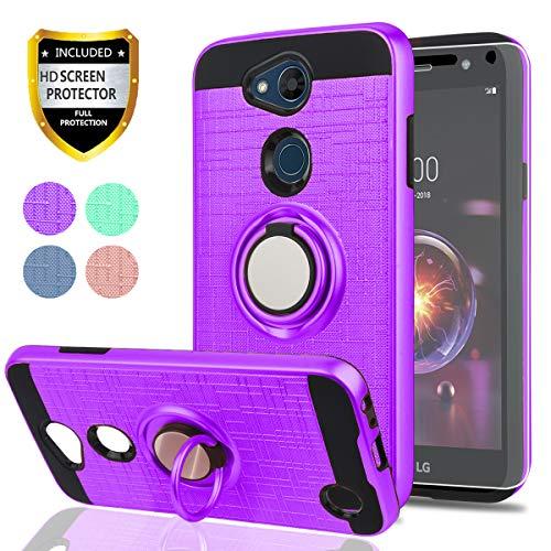 YmhxcY LG X Power 3 Case.LG Fiesta 2 LTE/LG X Charge/LG X Power 2 Case HD Screen Protector,360 Degree Rotating Ring & Bracket Dual Layer Shock Bumper Cover LG LV7 2018-ZH Purple