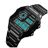 2018 Fashion Men Sports Watches Count Down Waterproof Watch Stainless Steel Electronic Digital Wristwatches (Black)