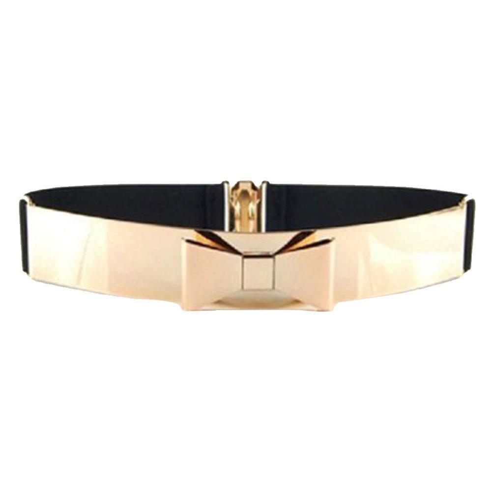 ALAIX Fashion Womens Gold Mirror Stretch Waist Dress Belt BELT-B10-golden belt-Bowknot