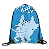 Horton Hears A Who Drawstring Backpack Bag Rucksack Shoulder Sackpack Sport Gym Yoga Runner Beach Hiking Dance