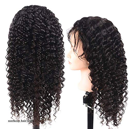 Suerkeep Deep Wave Human Hair Lace Front Wigs Pre-Plucked Glueless 150% Density Brazilian Deep Curly Natural Hair Wigs with Baby Hair (20inch, Natural Color)