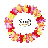 Yansanido 41'' Pack of 6 Large Size Fully Graduation Party Hawaiian Ruffled Simulated Silk Flower Leis Necklace for Party Favor and hula-hula Hawaiian Dance (6pcs Multicolour)