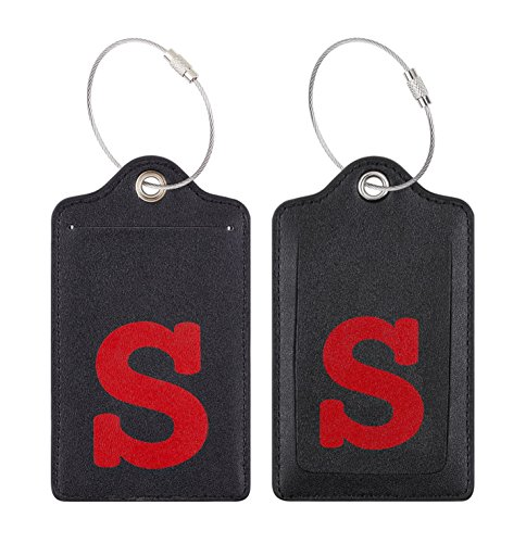 Chelmon Initial Luggage Tag with Full Privacy Cover and Stainless Steel Loop (S)