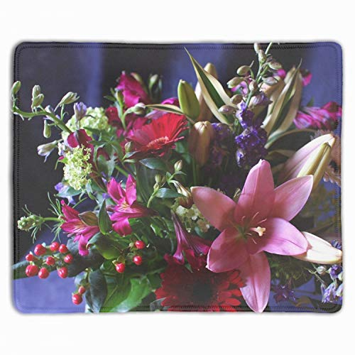 (Standard Size Gerbera Lily Alstroemeria Flowers Bouquets Custom Professional Gaming Mouse Pad - Anti Slip Rubber Base - Stitched Edges - Large Desk Mat - 11.8x9.85x0.12)
