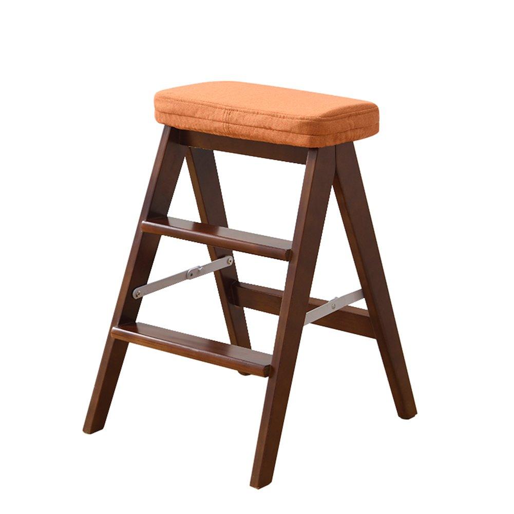 TH 階段のスツール木製の椅子脚を持つダイニングチェア折りたたみチェア図書館3層のステップ多機能(ウォールナットカラー) (色 : Style-1) B07DZ3FHKT Style-1 Style-1