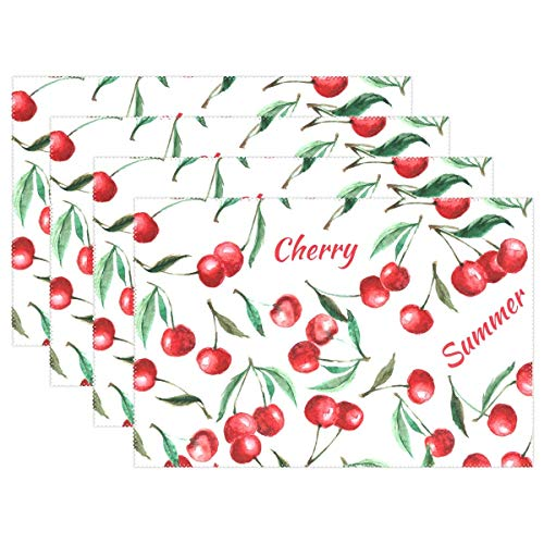 Promini Heat-Resistant Placemats, Summer Cherry Washable Polyester Table Mats Non Slip Washable Placemats for Kitchen Dining Room Set of 4