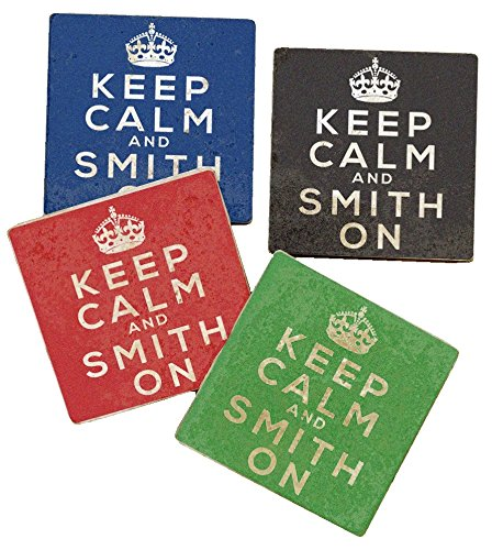 - Keep Calm and Smith On - Personalized Tumbled Travertine Coasters - Set of 4