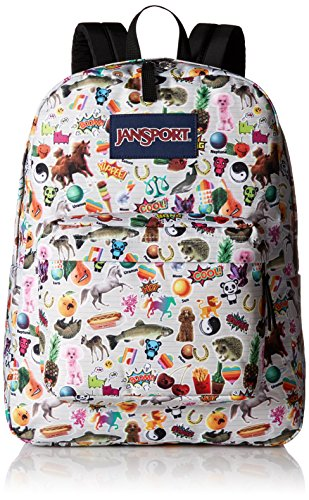 JanSport Superbreak Backpack - Durable for School & Travel, with Padded Shoulder Straps - (Multi Stickers)