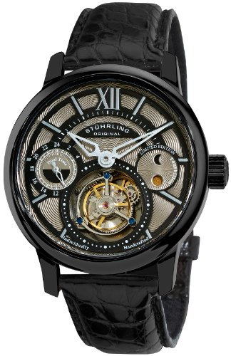 Stuhrling Original Men's 296C.3355X13 Tourbillon Limited Edition Imperial Tourbillon SE Mechanical Dual Time Black Watch