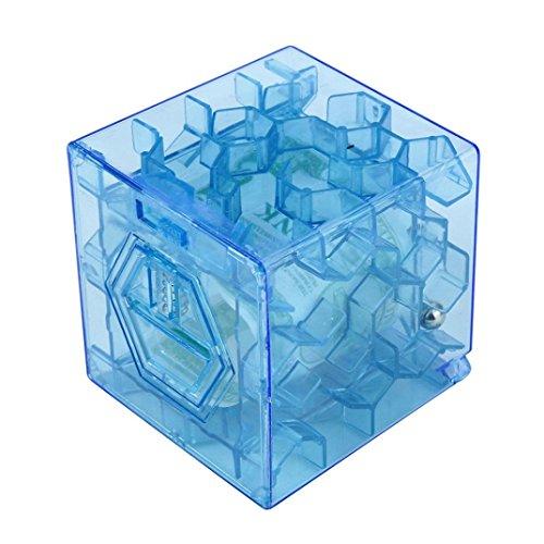 Iuhan New 3D Cube Puzzle Money Maze Bank Saving Coin Collection Case Box Fun Brain Game (Blue)