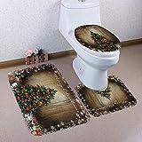 brown cushion toilet seat Owl's-Yard 3-Piece Bathroom Set Bath Mat Rug Lid Toilet Covers Toilet Seat Cushion Non-Slip Rubber Backing (Xmas Set #10)