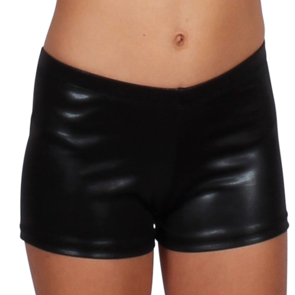 Gia Mia Girl's Metallic Matrix Dance Short Size Large (12-14) Black