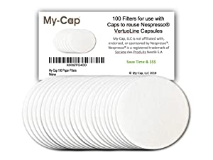 My-Cap 100 Paper Filters for use with Caps to Reuse Capsules for Nespresso VertuoLine Brewers