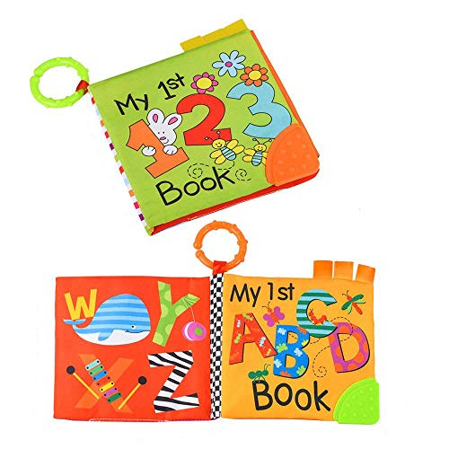 TUMAMA Soft Book for Babies, Baby First Cloth Books with Teether Number Alphabetic Learning Toys for Baby Bed, Boy Girl Pack of 2 ()