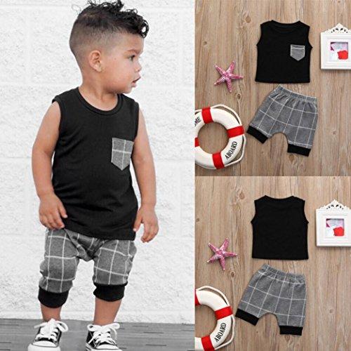 Amazon.com: CSSD Toddler Kids {Baby Boys} {Plaid Patchwork} Vest Tops+Shorts Outfits Clothes Set: Beauty