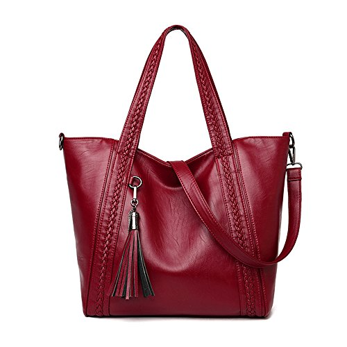 with Bag Soft nbsp;Shoulder Tote Womens amp;Sue Large Handbag Mn Tassel nbsp;Washed Red Hobo Satchel Leather Braided 7qAOUywH