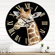 DesignQ Farmhouse Wall Clock 'Close Up Portrait of A Giraffe III' Animals Large Wall Clock for Living