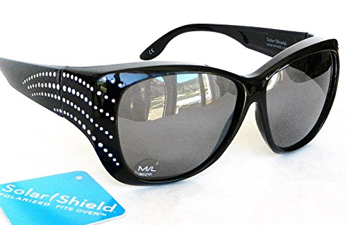 "SOLAR SHIELD ""Fit Over Your RX Glasses"" Polarized Rhinestone Sunglasses (A1401)"