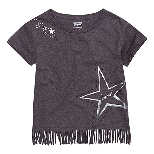 Levi's Toddler Girls' Fringe Hem Graphic T-Shirt, Charcoal Heather, 2T (School Toddler Tee)