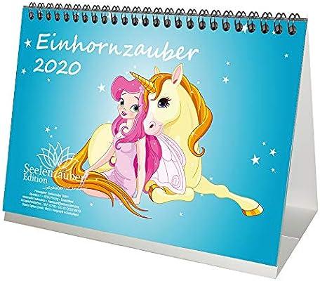 Einhornzauber – Calendario de mesa DIN A5, 2020, unicornio, unicornio, juego de regalo: además 1 tarjeta de felicitación y 1 tarjeta de Navidad, magia del alma: Amazon.es: Oficina y papelería