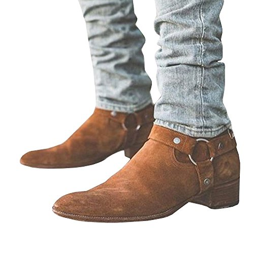 Mens Wyatt Harness Boots Chunky Low Heel Zip-up Pointed Toe Faux Suede Winter Ankle Booties