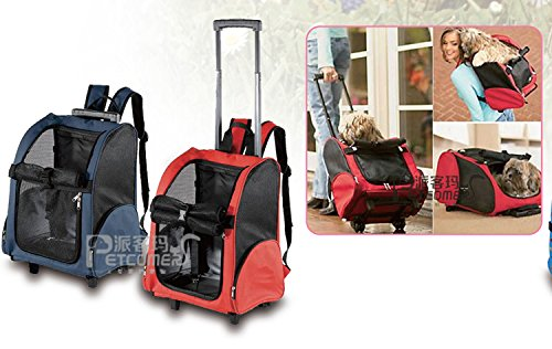 Cheap Red Color Pet Carrier Dog Cat Rolling Backpack Travel Airline Approved Wheel Luggage Bag
