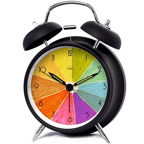 HaloVa Twin Bell Alarm Clock, Silent Non Ticking Sweep Second Hand Bedside Desk Alarm Clock, Creative Fashion Nightlight and Loud Alarm for Bedroom, Battery Operated, Lemon, Black