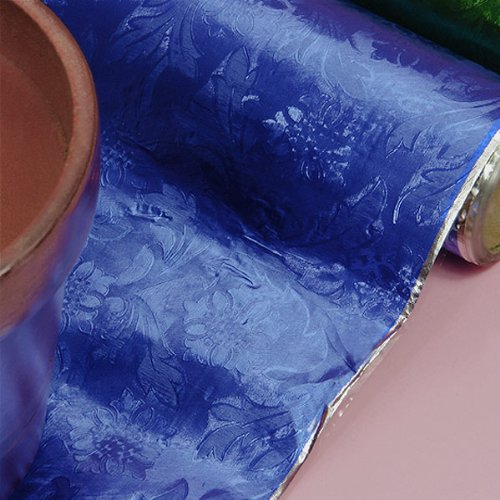 Premium Floral Foil Wrapping Paper - 20 Inches By 10 Yards (Royal Blue)